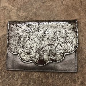 NWT Anthropologie Scalloped Leather Clutch Pouch